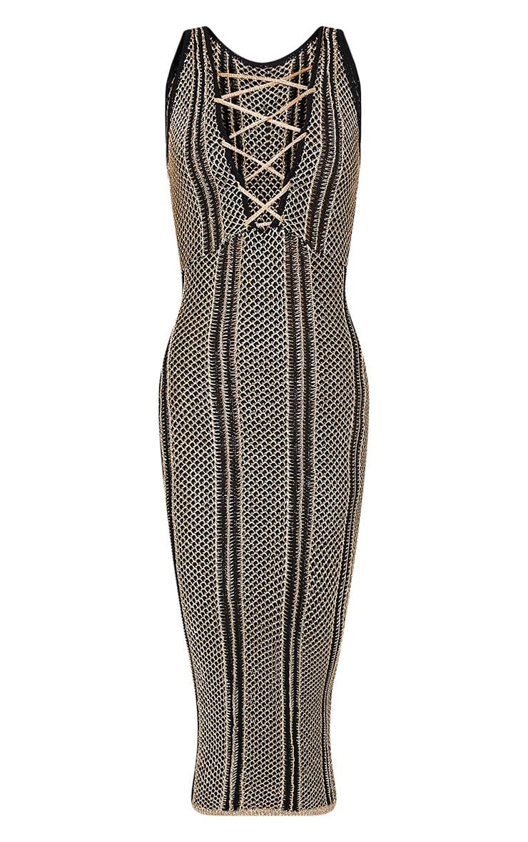 Avanya Premium robe midi noire métallisée à lacets 4