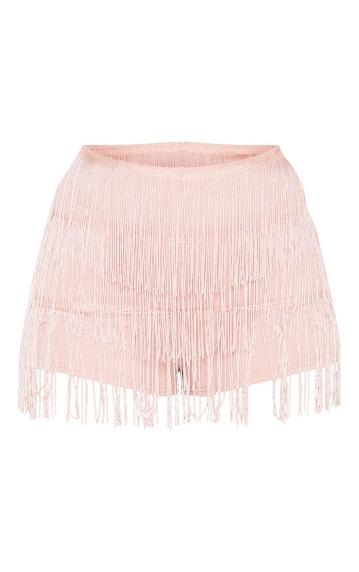Light Pink Tiered Fringe Short 3