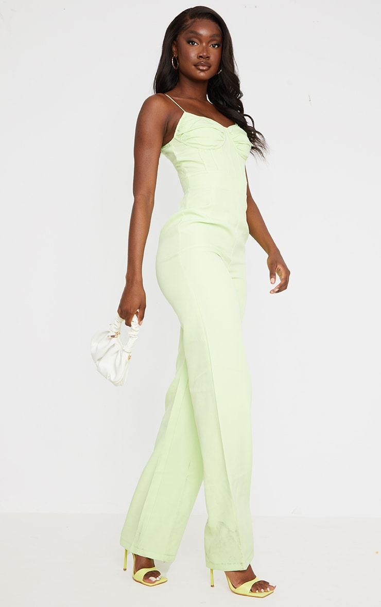 Tall Lime Ruched Cup Corset Detail Wide Leg Jumpsuit 3