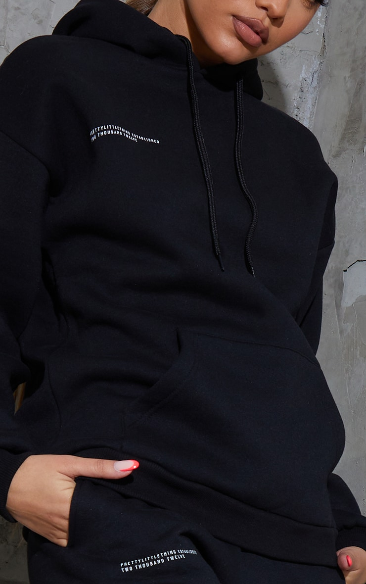 PRETTYLITTLETHING Recycled Black Est 2012 Oversized Hoodie 4
