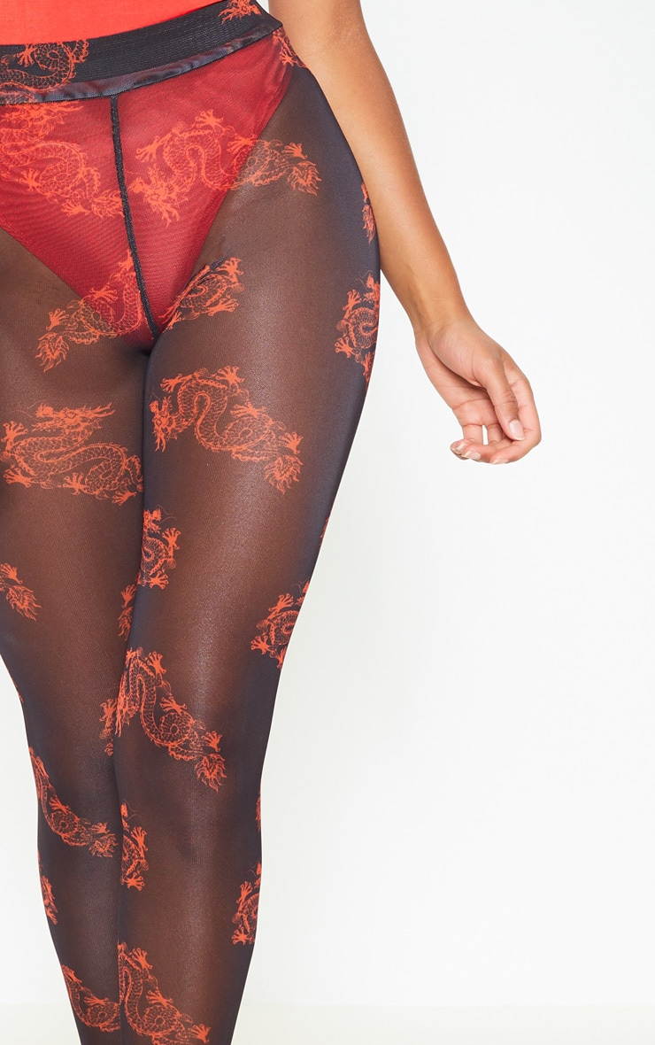 Red Dragon Print Mesh Legging 4