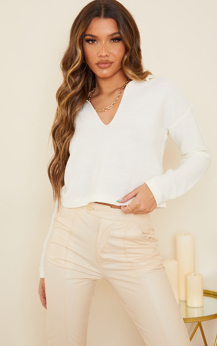 Cream Collared Knitted Jumper 1