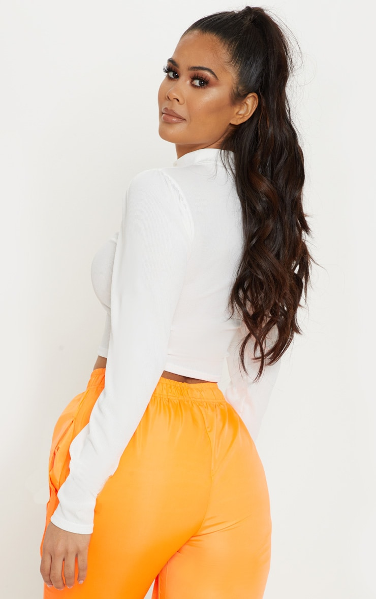 Cream Rib Roll Neck Puff Long Sleeve Crop Top 2