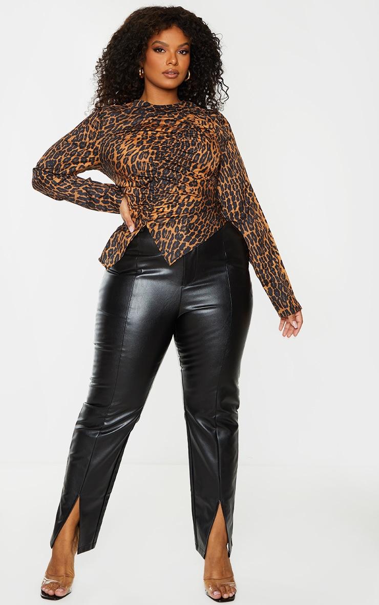 PLT Plus - Chemisier marron imprimé léopard froncé devant 1