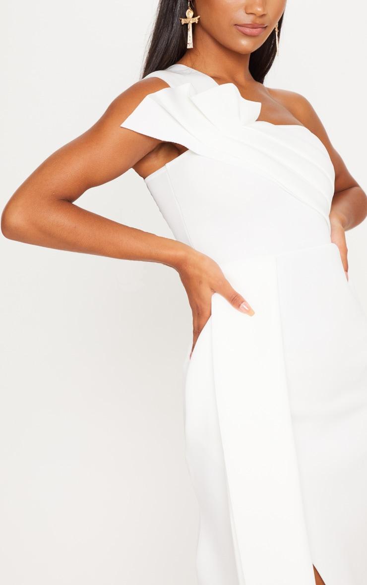 White Bonded Scuba Pleated Draped Midi Dress 5