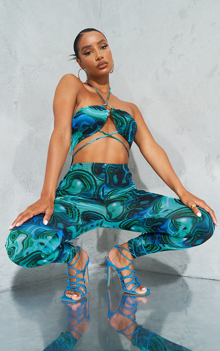 Blue Marble Print Ring Cut Out Mesh Jumpsuit 1