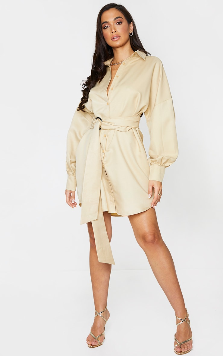 Stone Belted Tie Shirt Dress 3