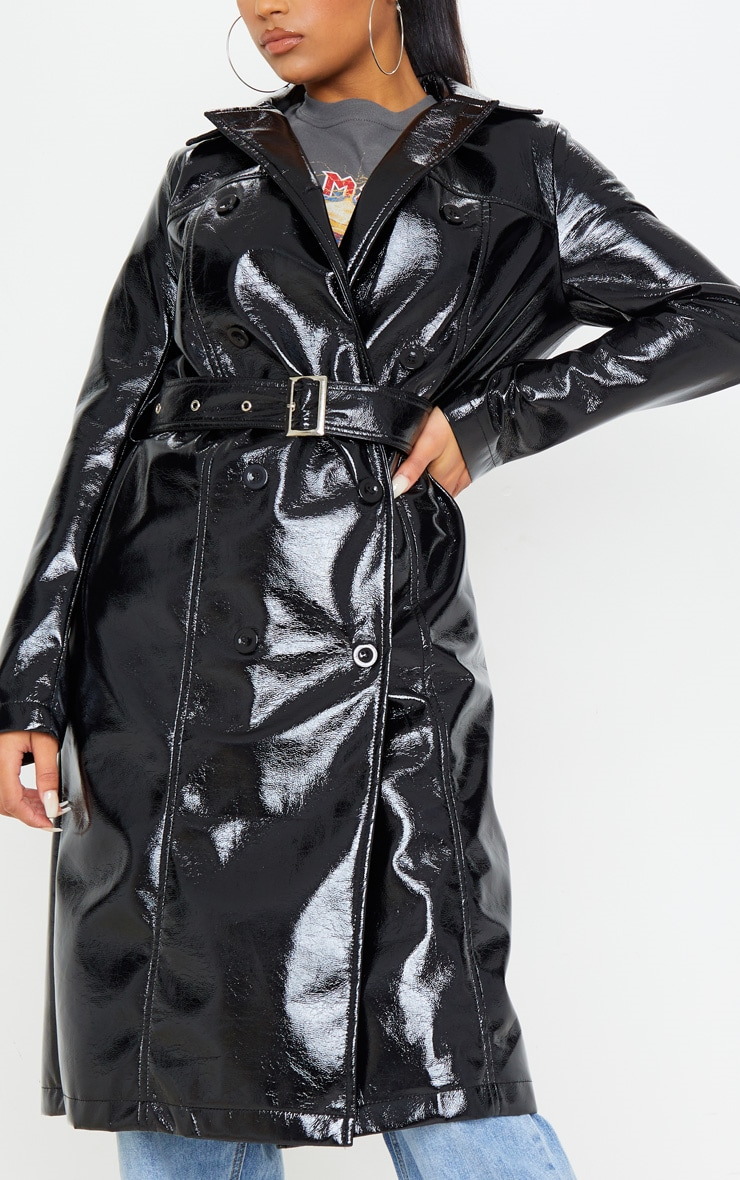 Black Vinyl Crinkle Trench Coat 5