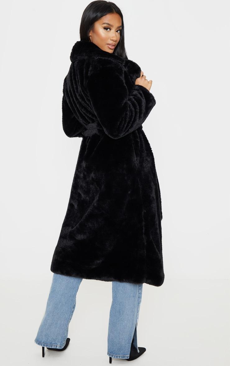 Petite Black Belted Faux Fur Coat 2
