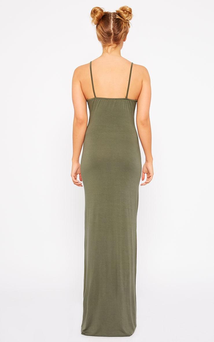 Aurelia Khaki Front Slit Cami Maxi Dress 2