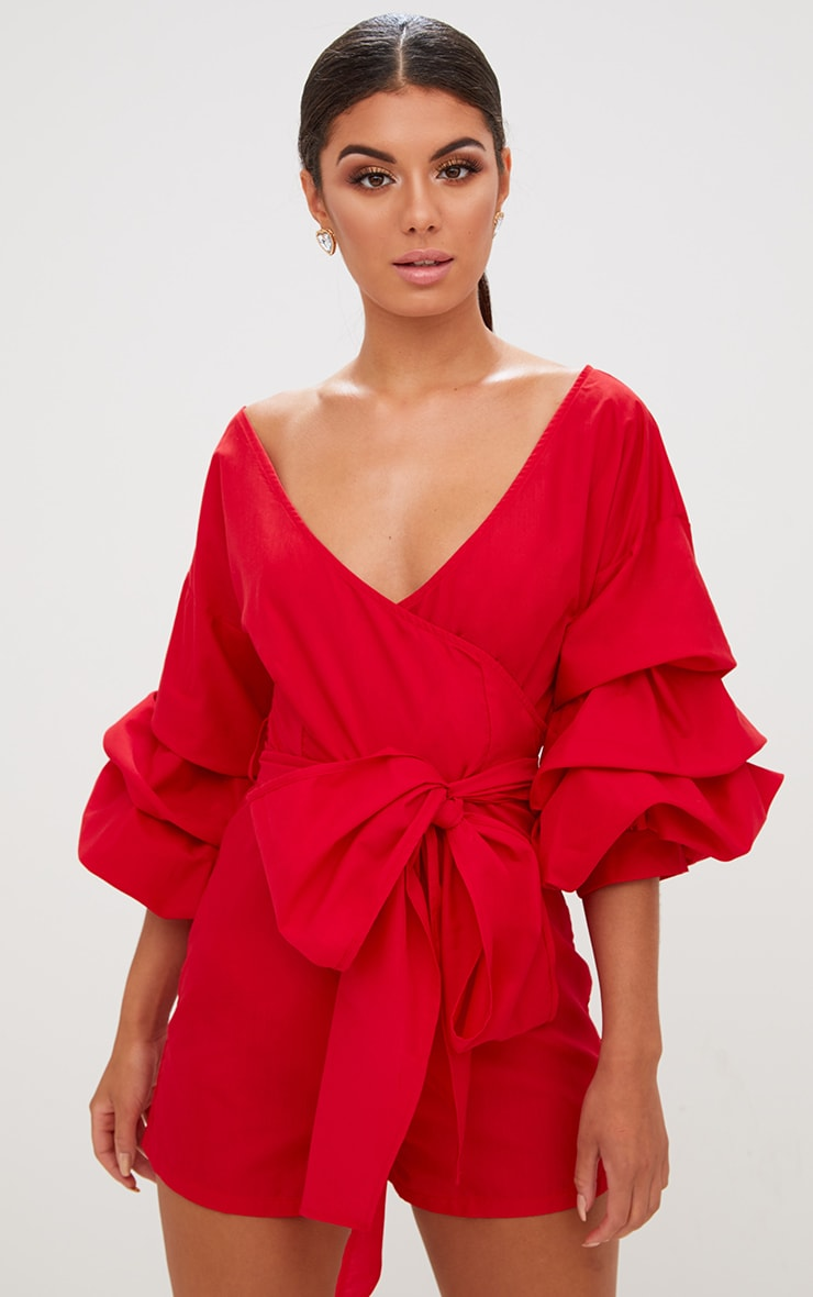 Red Frill Sleeve Tie Waist Playsuit 1