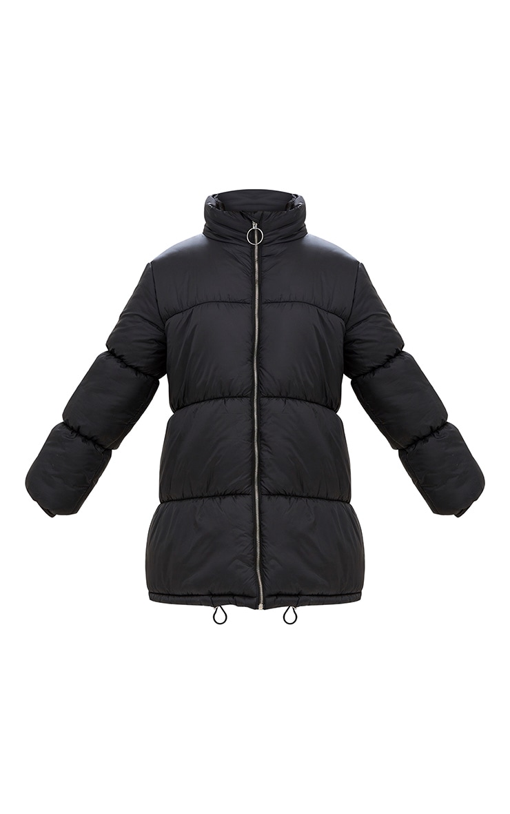 Black Ring Pull Longline Puffer Jacket 3