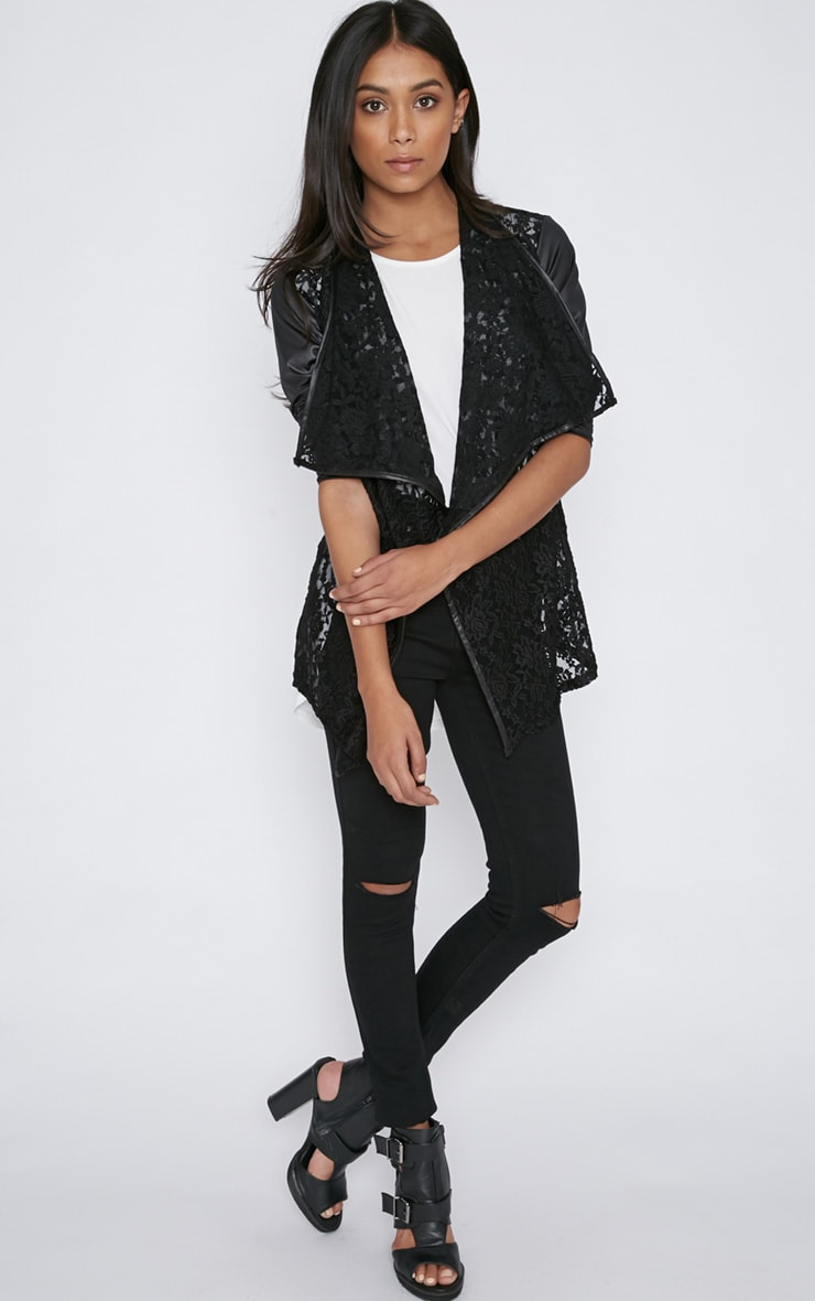 Stevie Black Lace Leather Sleeve Waterfall Jacket 5