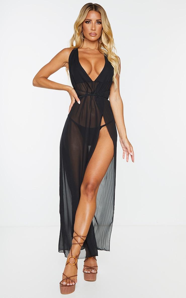 Black Chiffon Plunge Beach Dress 4