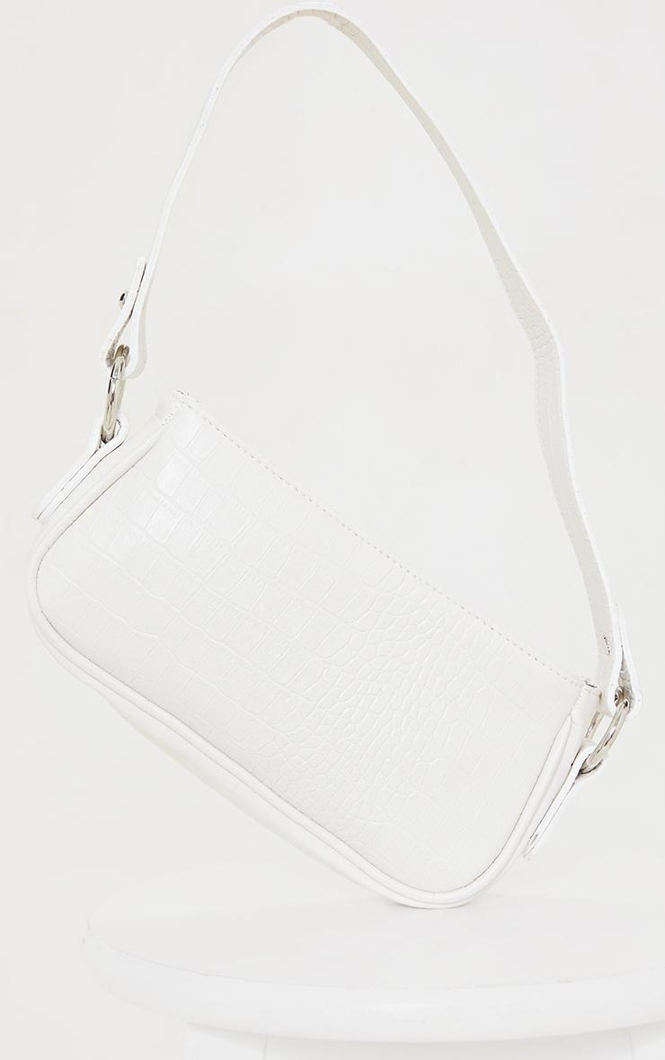 حقيبة كتف بوليستر برسمة جلد التمساح بيضاء 2
