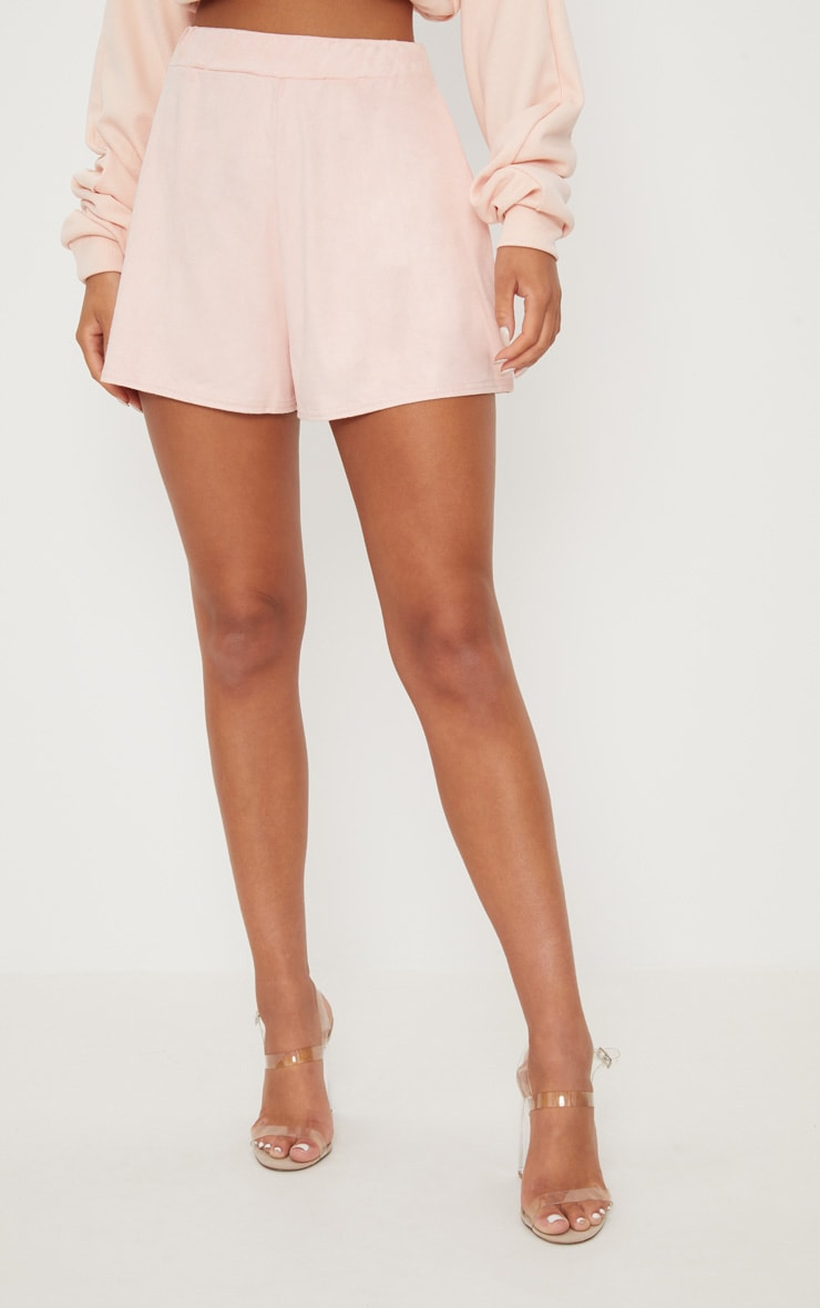 Pale Grey Faux Suede High Waisted Short 2