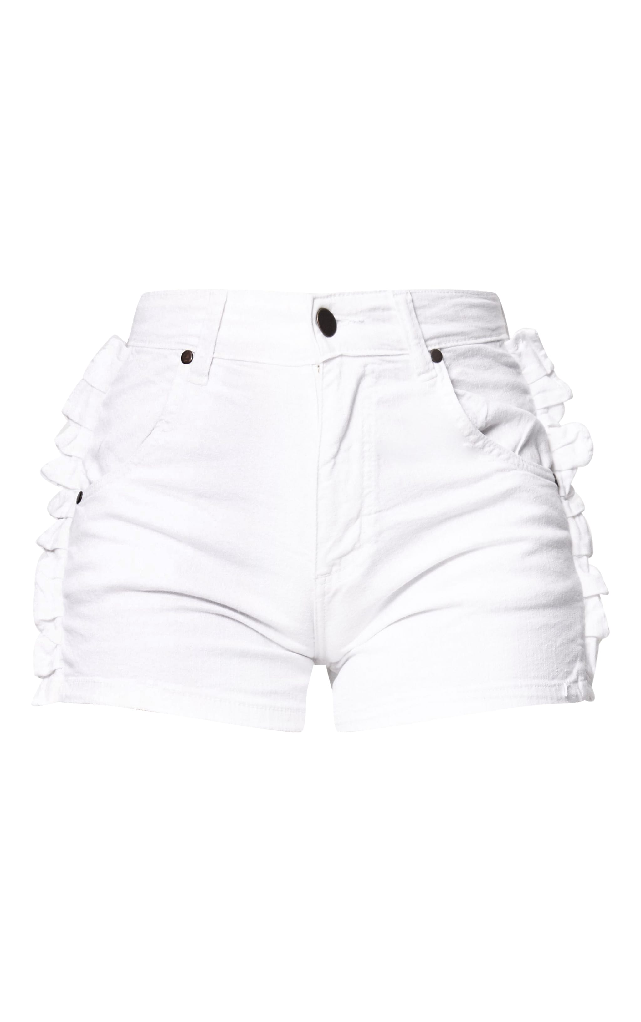 White Ruffle Detail Denim Shorts 3