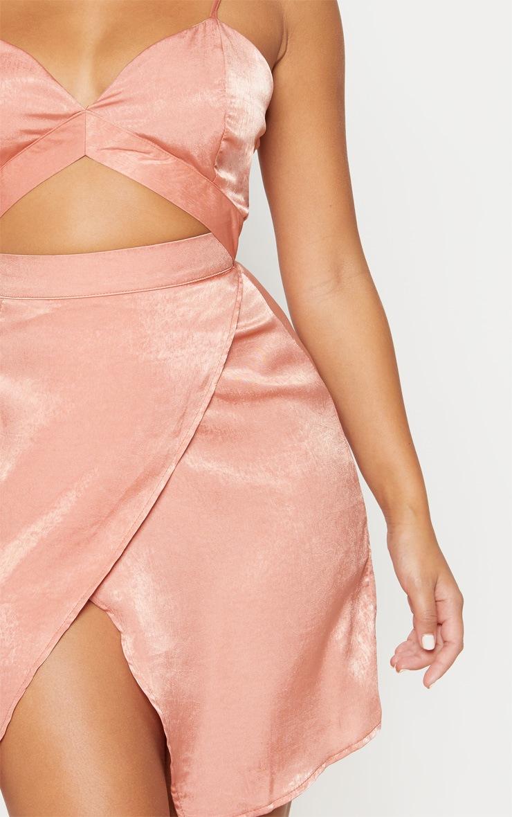 Blush Strappy Satin Cut Out Wrap Bodycon Dress 5