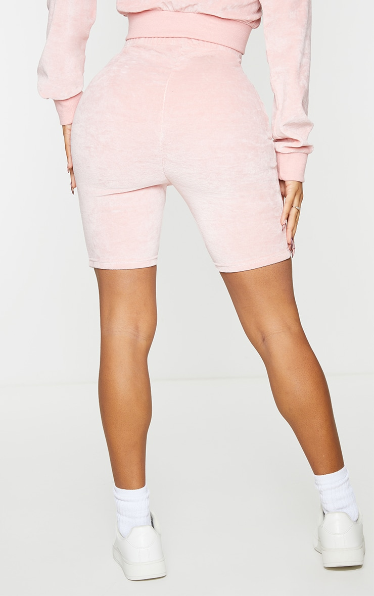 Shape Baby Pink Velour Ruched Bum Bike Shorts 3