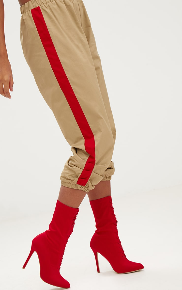 Stone Cropped Contrast Stripe Cargo Trousers 5