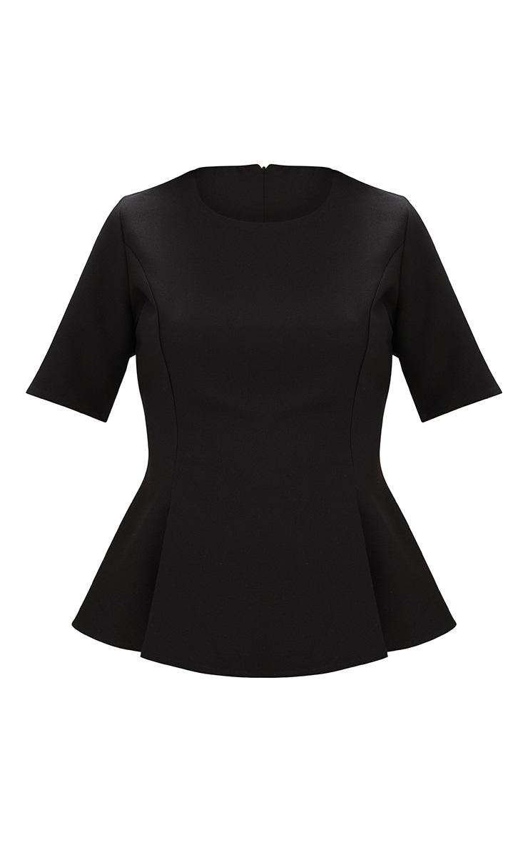 Black Short Sleeve Peplum Hem Woven Top 3