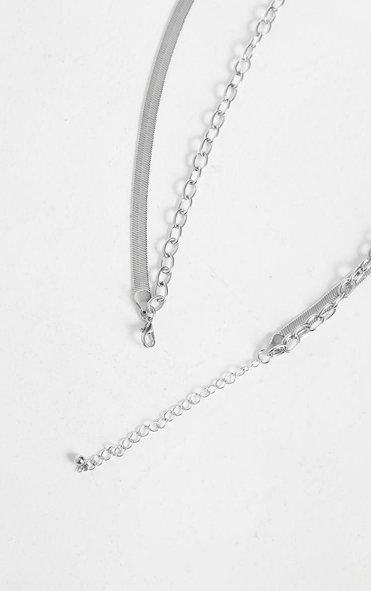 Silver Snake Chain And Padlock Layering Necklace 4