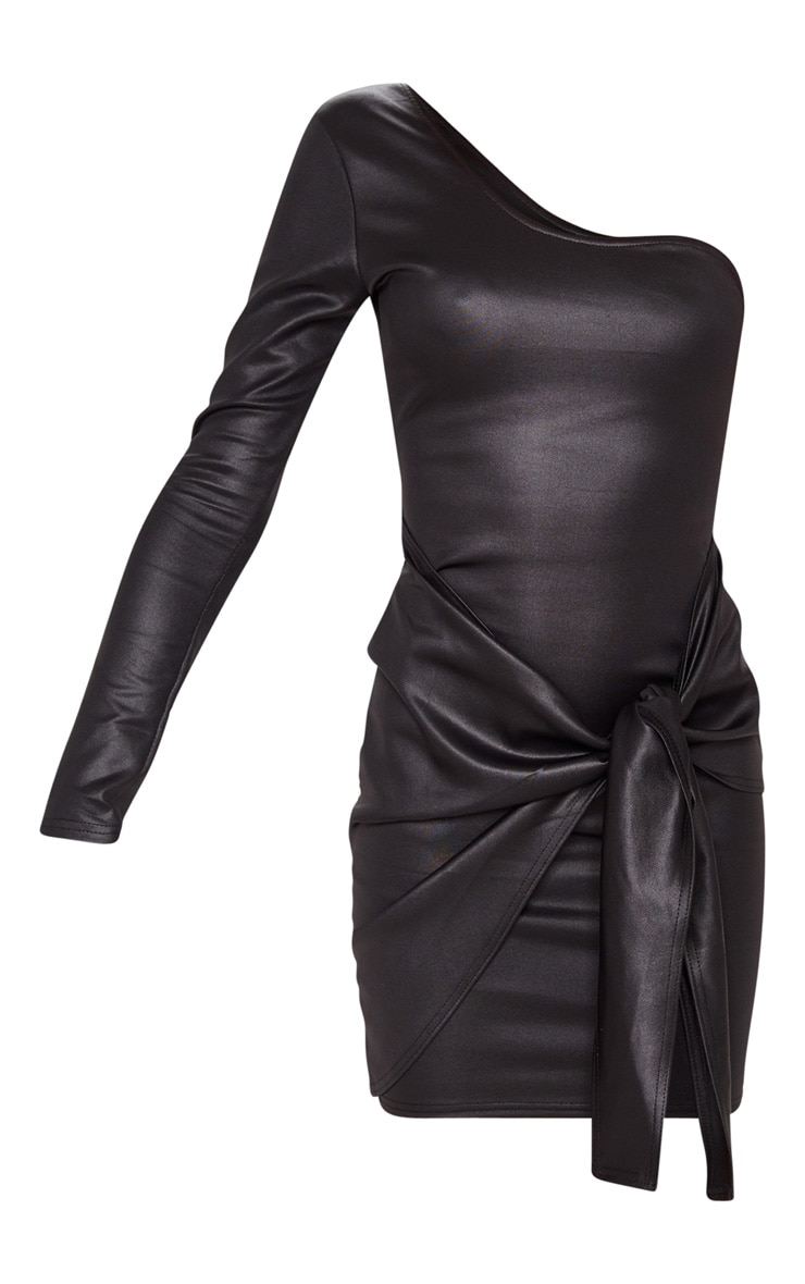 Black Matte PU One Shoulder Wrap Dress 3