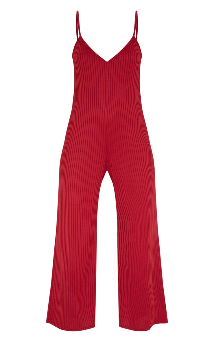 Deep Burgundy Ribbed V Neck Oversized Jumpsuit 3