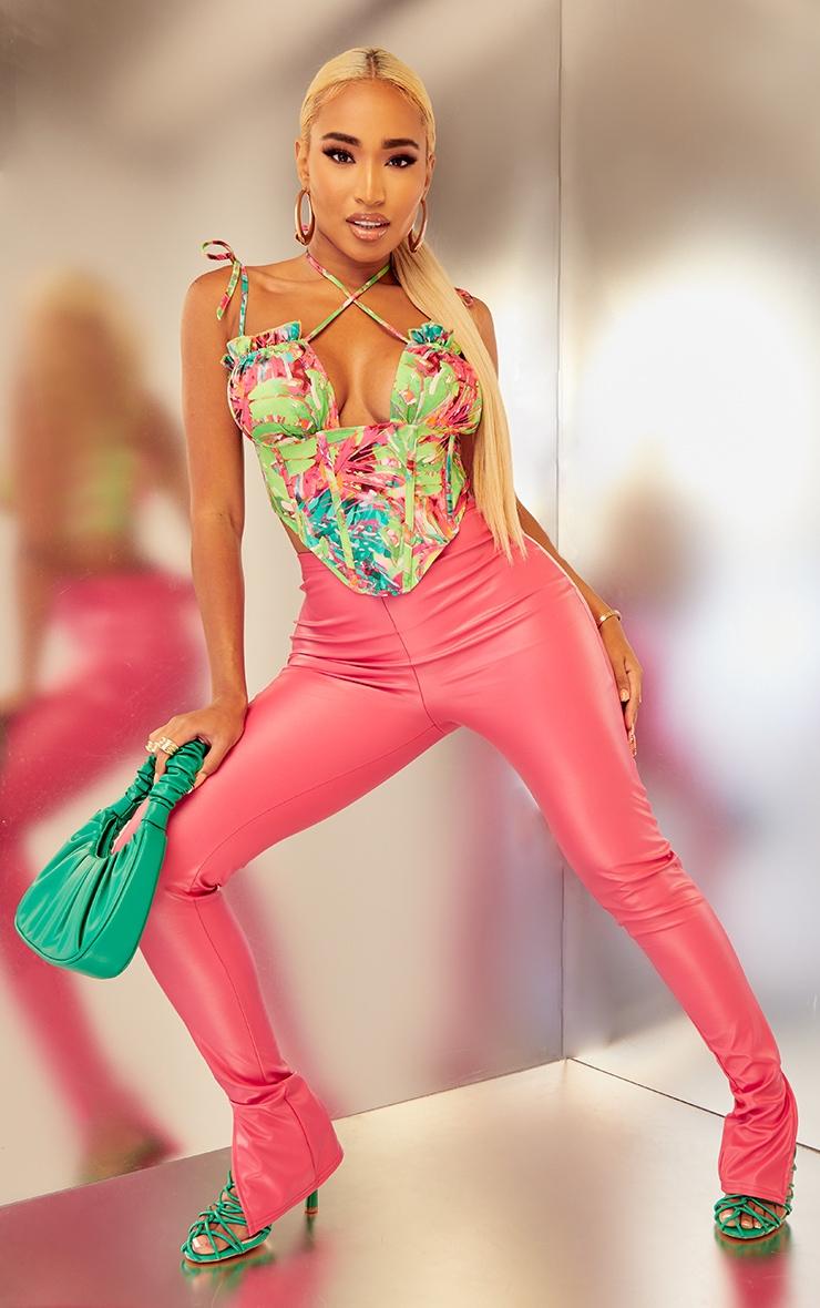 Shape Fuchsia PU Split Hem Trousers 1