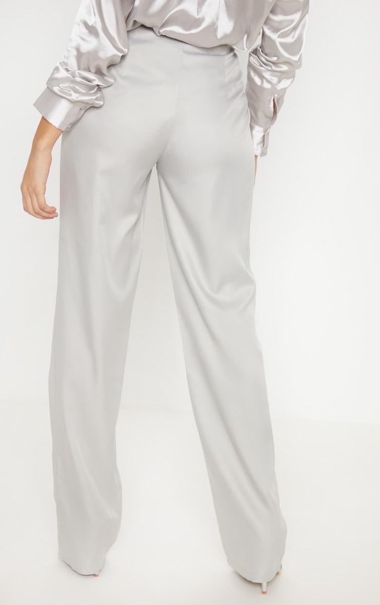 Light Grey Straight Leg Woven Pants 4