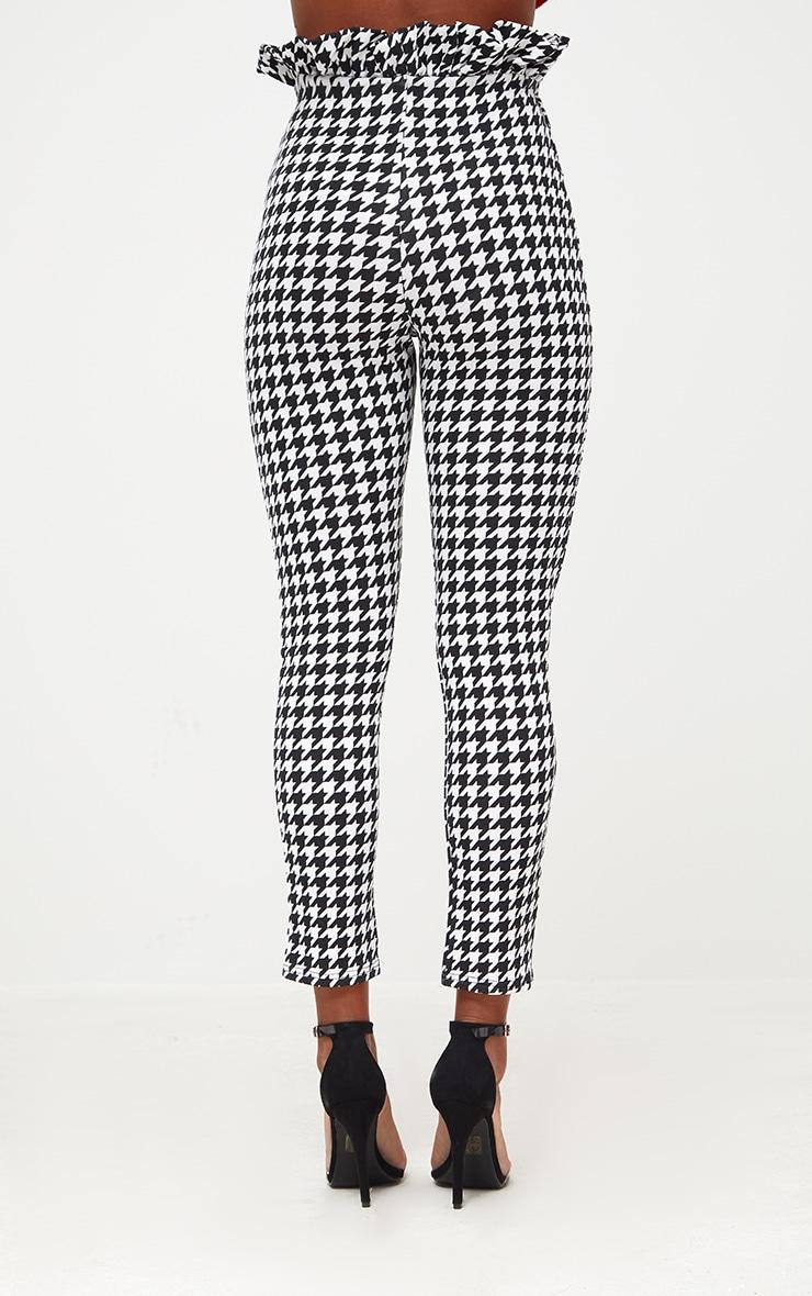 Black Dogtooth Paperbag Waist Skinny Trousers 4