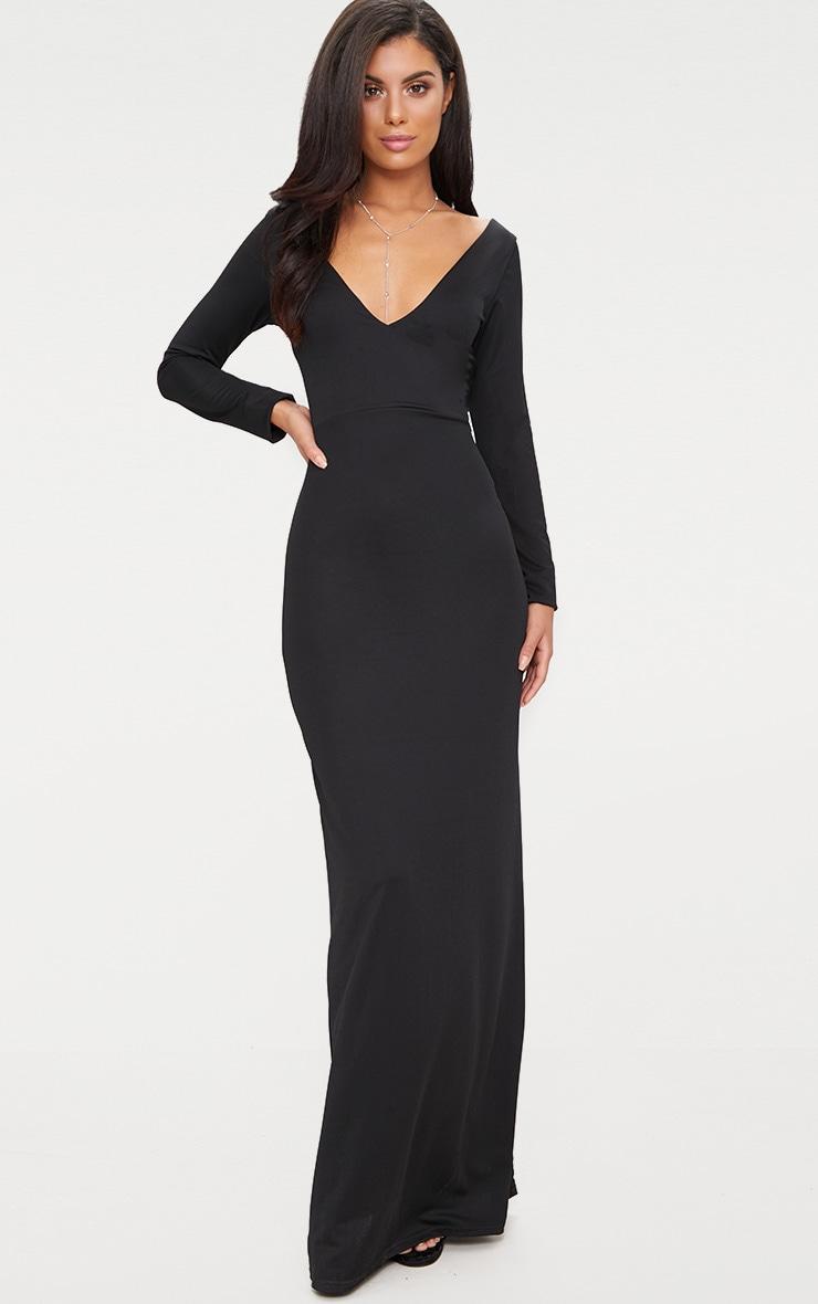 Black Backless Plunge Long Sleeve Maxi Dress  2