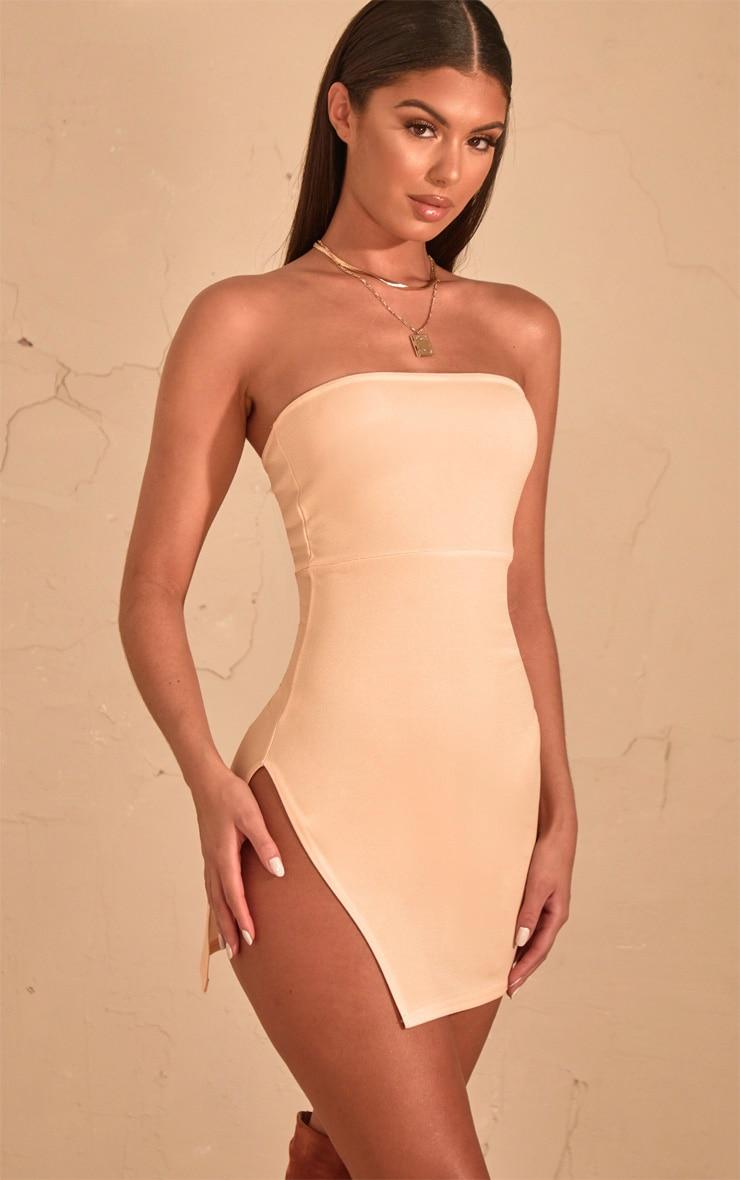 Cream Crepe Split Side Bandeau Bodycon Dress 1