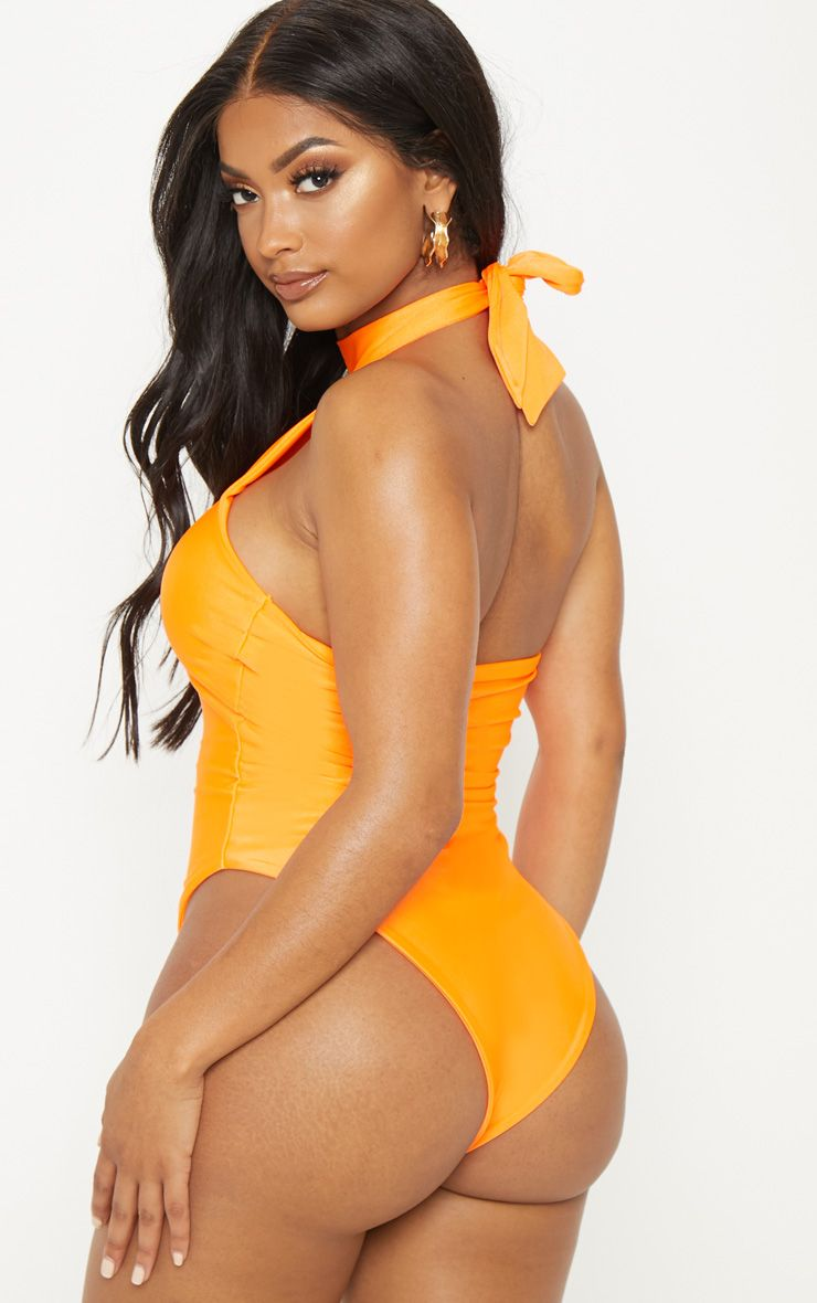 Shape Neon Orange High Neck Swimsuit 1