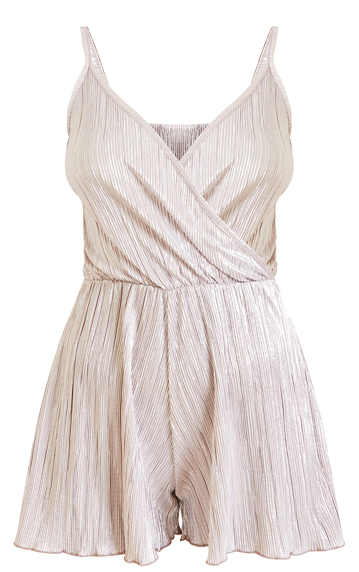 Dusty Pink Metallic Plisse Strappy Wrap Playsuit 5