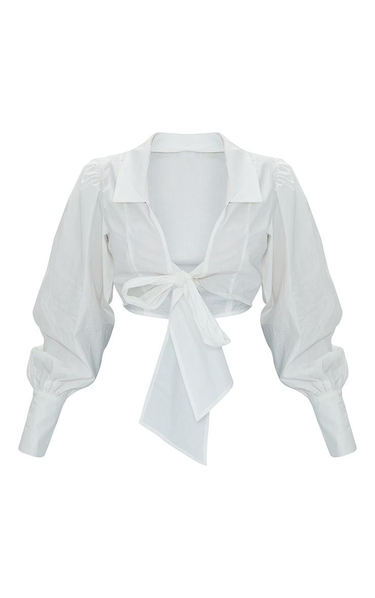 Petite White Bow Detail Blouse 5