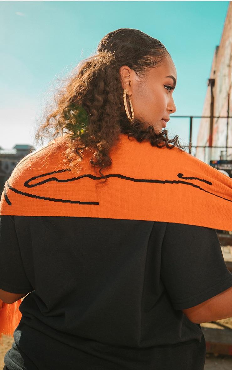 KARL KANI - Echarpe orange à franges 1