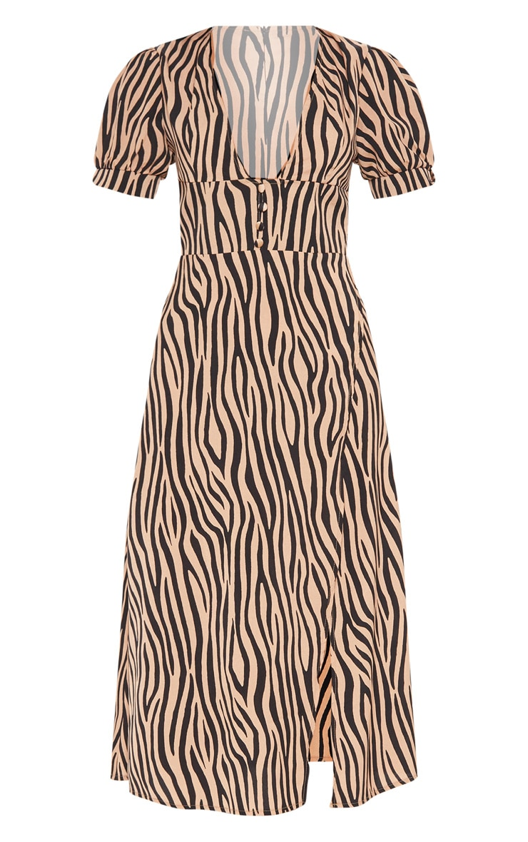 Beige Tiger Print Wrap Skirt Midi Dress 3