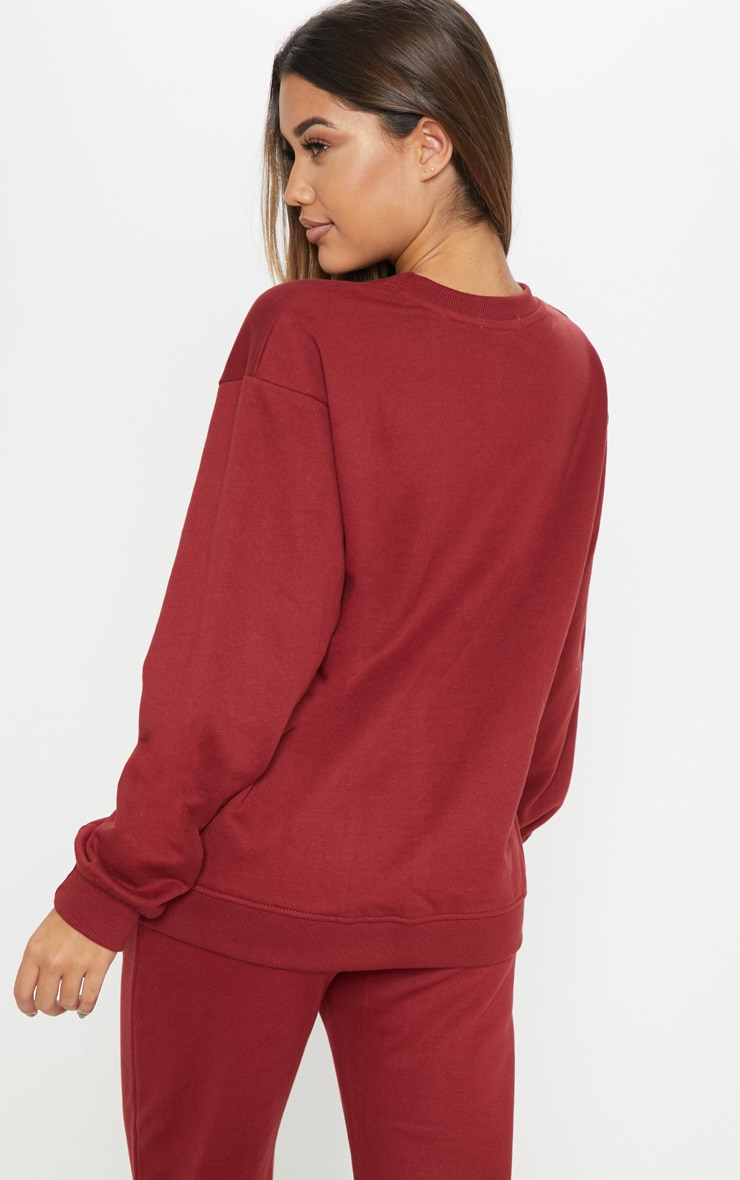 PRETTYLITTLETHING Burgundy Embroidered Oversized Sweater 2