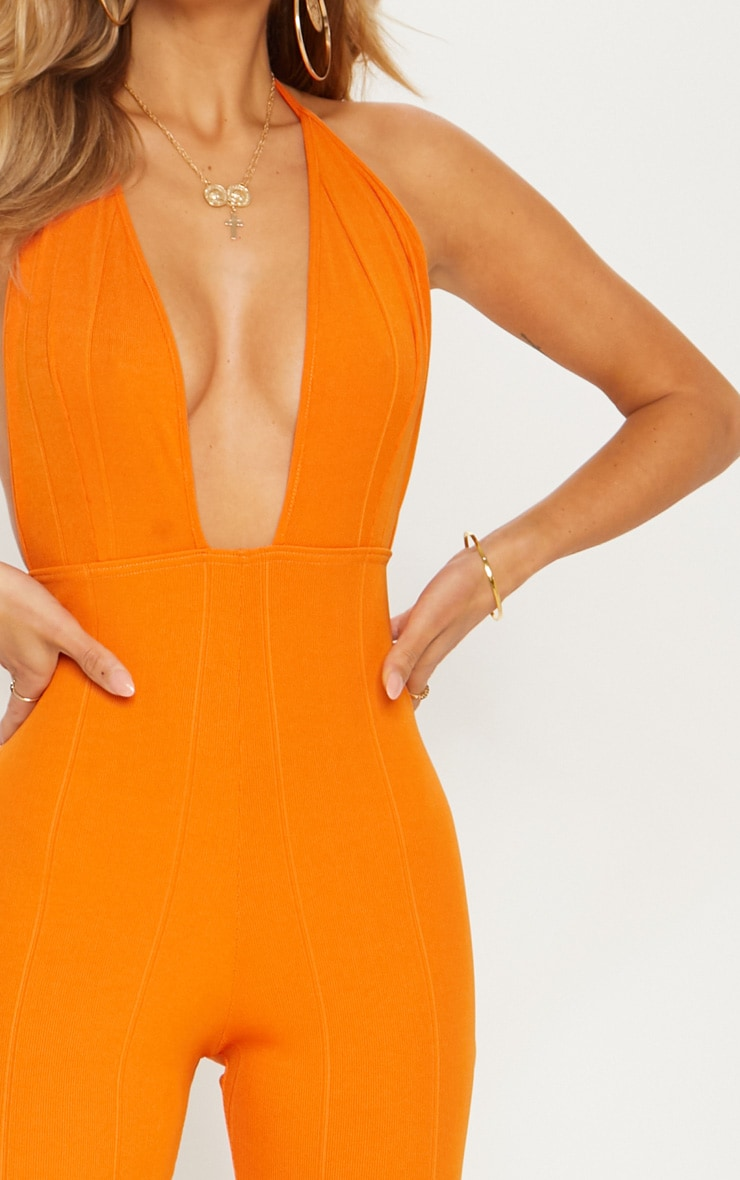 Orange Bandage Plunge Flared Leg Jumpsuit 3