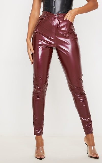 Dark Red Button Front Vinyl Skinny Trouser
