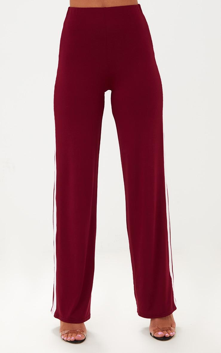 Petite Burgundy Sports Stripe Jersey Wide Leg Trousers 2