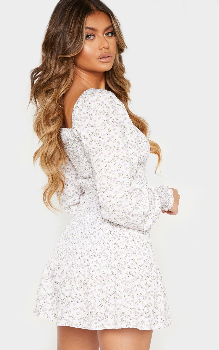 White Floral Print Puff Sleeve Shirred Dress 2