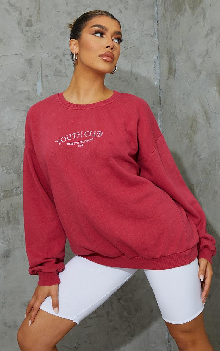 Burgundy Youth Club Slogan Embroidered Washed Sweatshirt 3