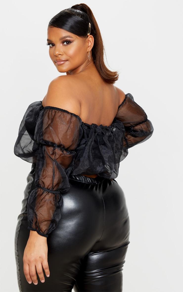Plus Black Organza Bardot Puff Sleeve Crop Top 2