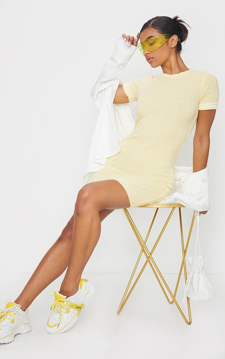 Yellow Stripe Sleeve Knitted Mini Dress 3