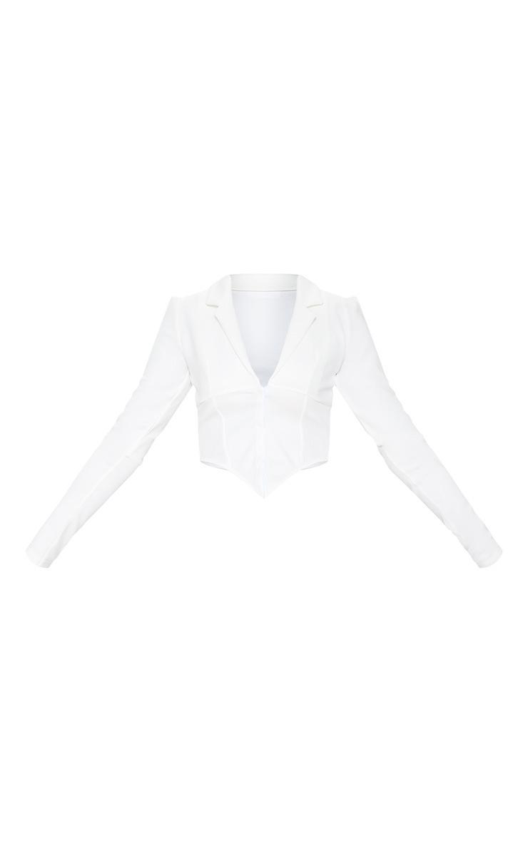 White Collar Detail Long Sleeve Cropped Shirt 3