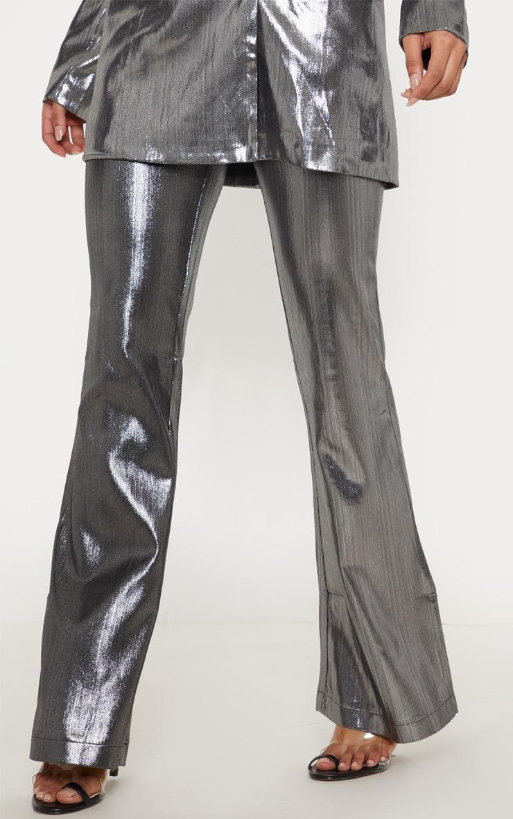 Silver Metallic Straight Leg Trouser  2