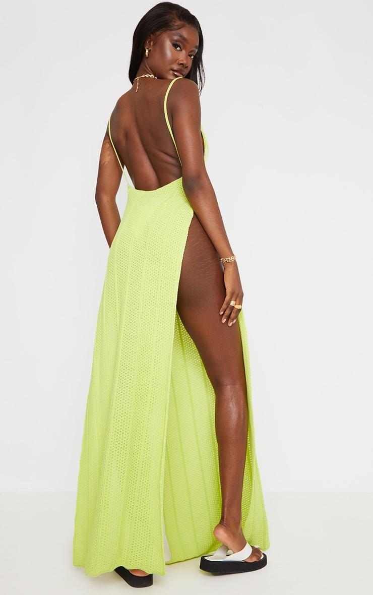 Tall - Robe longue en maille vert citron fendue sur les côtés à dos ouvert 2