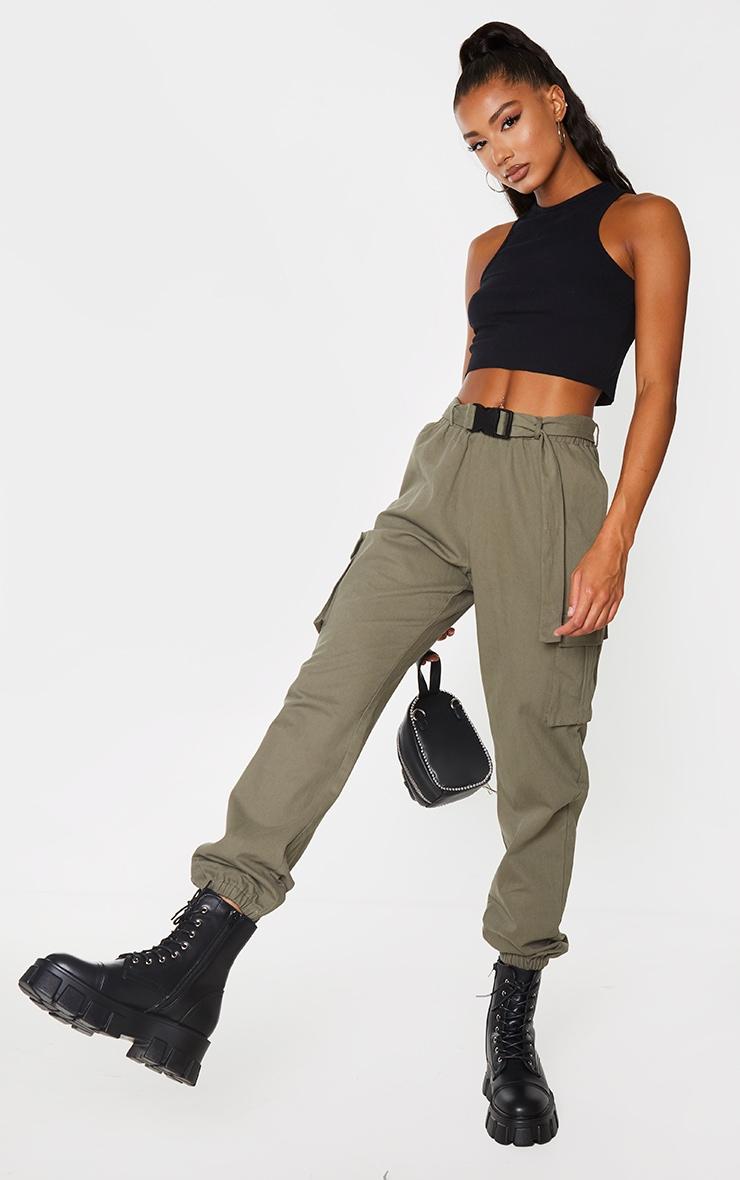 Khaki Buckle Detail Cargo Trousers 1